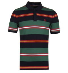 Fred Perry Contrast Stripe Navy Polo Shirt