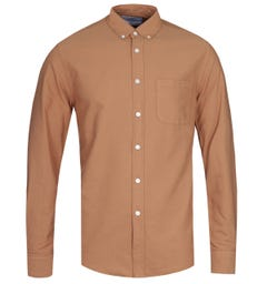 Portuguese Flannel Belvista Button-Down Long Sleeve Brick Tan Shirt