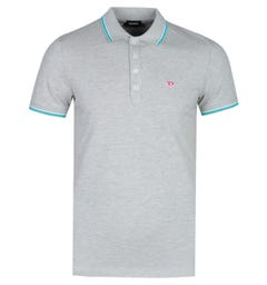 Diesel D Logo Grey Marl Tipped Polo Shirt