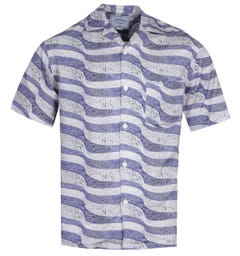 Portuguese Flannel Calcada Portuguesa Blue Stone Path Pattern Short Sleeve Shirt