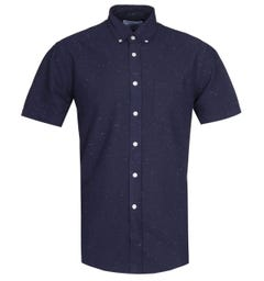 Portuguese Flannel Dot Blue Navy Short Sleeve Shirt