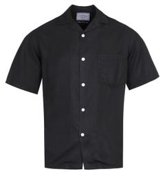 Portuguese Flannel Dogtown Cuban Collar Black Short Sleeve Shirt