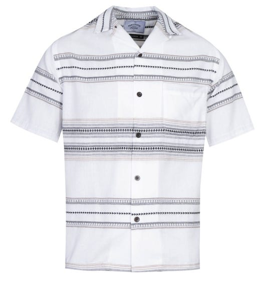 Portuguese Flannel Native Pattern White Short Sleeve Shirt