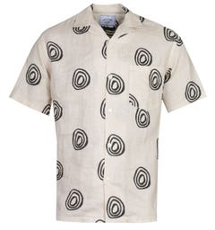 Portuguese Flannel Aboriginal Pattern Cream Short Sleeve Shirt
