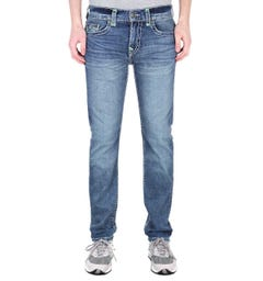 True Religion Rocco Relaxed Skinny Neon Super T Dark Champion Blue Denim Jeans