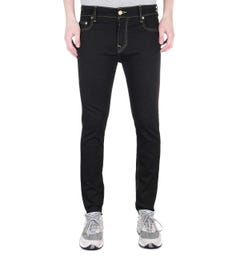 True Religion Jack Skinny Tapered Gold Trim Black Denim Jeans