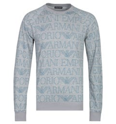 Emporio Armani All Over Script Logo Crew Neck Grey Marl Sweatshirt