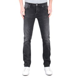 Nudie Jeans Co Grim Tim Slim Tapered Concrete Black Denim Jeans