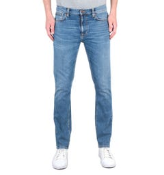 Nudie Jeans Co Lean Dean Slim Fit Lost Orange Mid Blue Denim Jeans