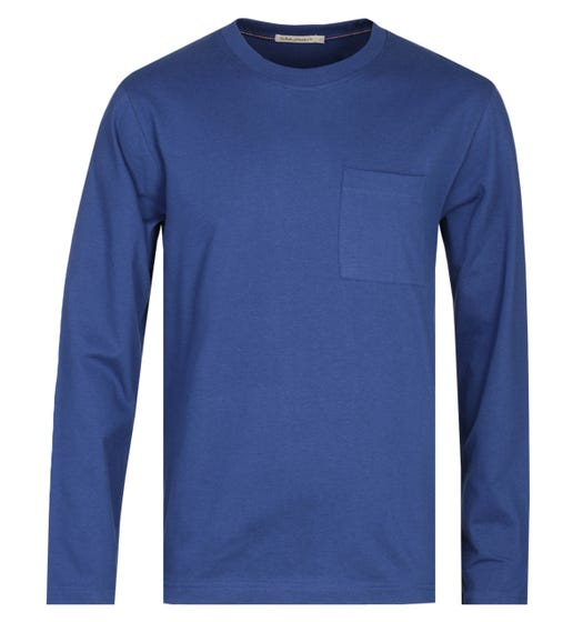 Nudie Jeans Co Rudi Long Sleeve Navy Blue Pocket T-Shirt