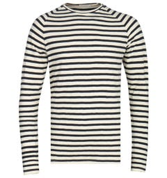 Nudie Jeans Co Otto Long Sleeve Black & White T-Shirt