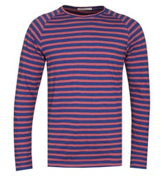 Nudie Jeans Co Otto Long Sleeve Navy & Dusty Red T-Shirt