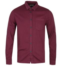 Nudie Jeans Co Henry Burgundy Pigment Dyed Long Sleeve Shirt