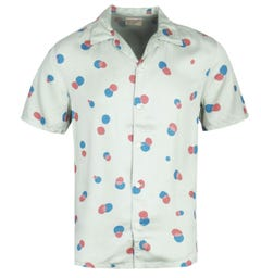 Nudie Jeans Co Arvid Random Dots Pale Green Short Sleeve Shirt
