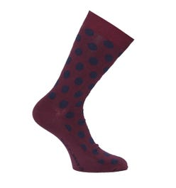 Nudie Jeans Co Olsson Burgundy & Navy Polka Dot Socks