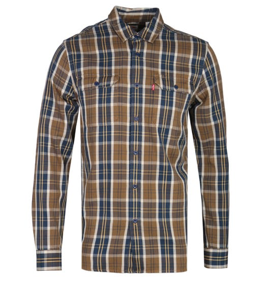 Levi's Jackson Brown Checked Regular Fit Worker Shirt