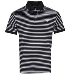 Emporio Armani Small Stripe Black Polo Shirt