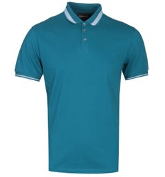 Emporio Armani Eagle Logo Collar Emerald Blue Polo Shirt