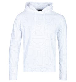 Emporio Armani All-Over Logo Print Side Zip White Hoodie