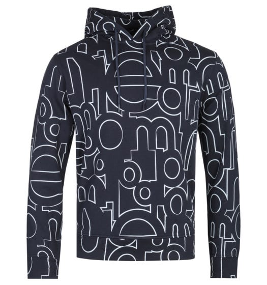 Emporio Armani All-Over Logo Print Side Zip Dark Navy Hoodie