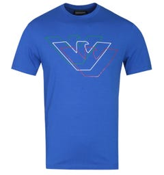 Emporio Armani Tri-Tone Eagle Logo Electric Blue T-Shirt