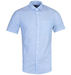 Armani Exchange Regular Fit Short Sleeve Sky Blue Linen Shirt