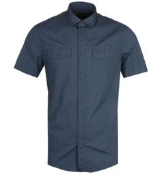 Armani Exchange Regular Fit Short Sleeve Navy Military Shirt