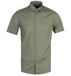 Armani Exchange Regular Fit Short Sleeve Green Military Shirt