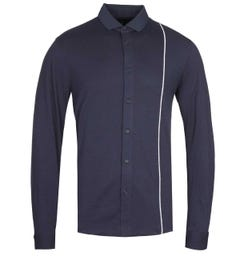 Armani Exchange Reflective Pin Stripe Navy Shirt