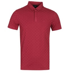 Armani Exchange Check Texture Burgundy Polo Shirt