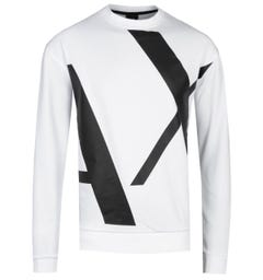 Armani Exchange AX White Big Logo Sweatshirt