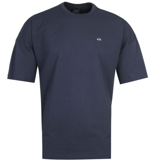 Armani Exchange Navy Seersucker T-Shirt