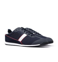 BOSS Glaze Mesh Navy & Red Detail Trainers