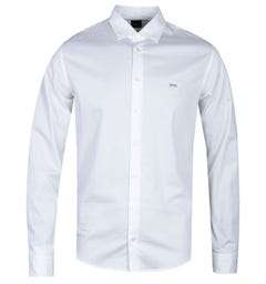 BOSS Mypop 2 Long Sleeve Slim Fit White Oxford Shirt