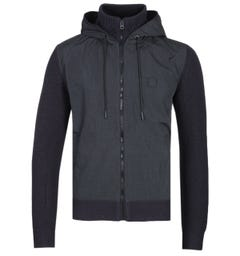 BOSS Kennsington Navy & Black Baffle Knit Hooded Jacket