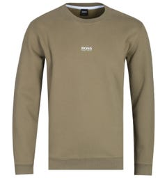 BOSS Weevo Centre Logo Khaki Green Sweatshirt