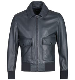BOSS Gonnel Onyx Black Leather Jacket