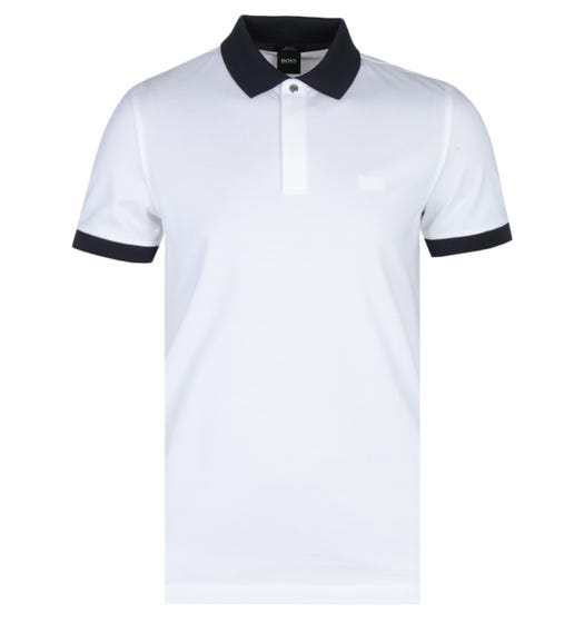 BOSS Phillipson 65 Contrast Collar Slim Fit White Polo Shirt