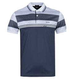 BOSS Paule 5 Short Sleeve Slim Fit Navy & White Striped Polo Shirt