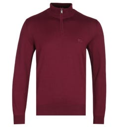 BOSS Padro-L Burgundy Zip Neck Sweater