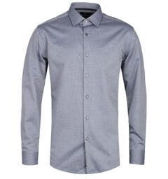 BOSS Jessi Micro Structure Slim Fit Blue Shirt