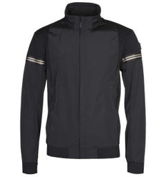 BOSS J-Siak Gold Trim Funnel Neck Black Jacket