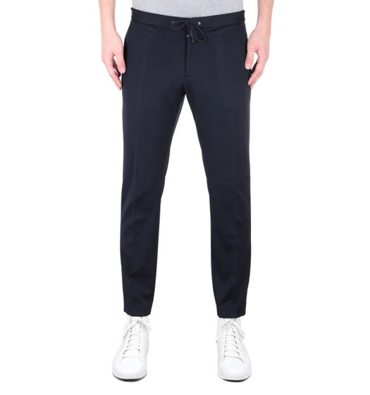 BOSS Banks-J Jersey Twill Slim Fit Dark Navy Trousers