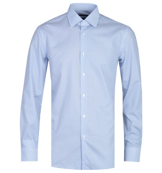 BOSS Jango Micro Floral Print Slim Fit White & Blue Shirt