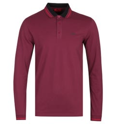 HUGO Donol 201 Long Sleeve Regular Fit Burgundy Polo Shirt