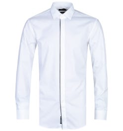 BOSS Javis Logo Strip Placket Slim Fit White Long Sleeve Shirt