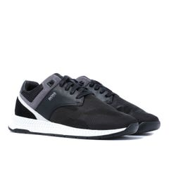 BOSS Titanium Runn Black Mesh Trainers