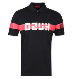 HUGO Dosel Brutallism Logo Black Regular Fit Polo Shirt