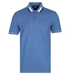 BOSS Parlay Contrast Tipping Ocean Blue Polo Shirt