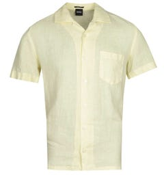 BOSS Rhythm Regular Fit Short Sleeve Light Yellow Linen Shirt